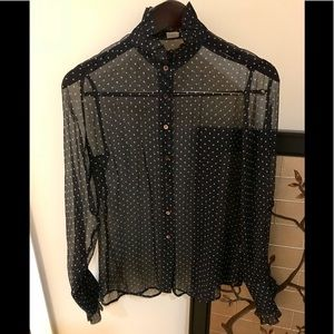 J.Crew Silk Navy Ruffle Neck Blouse Polka Dot EUC